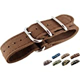 JRRS7777 Mens Watch Strap Zulu NATO Canvas Multi Colored 22mm