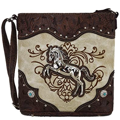 becea640e3 Amazon.com  Western Cowgirl Style Horse Cross Body Handbags Concealed Carry  Purses Country Women Single Shoulder Bag (Beige)  Shoes