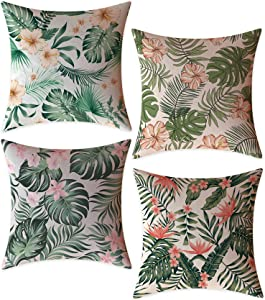 FeelAtHome Throw Pillow Covers Cases 18 x 18 Inches | Set of 4 (Tropical Forest) - Cozy Decorative Throw Pillow Cases for Home, Couch, Sofa - 4PCS Zip Accent Pillow Cover 100% Quality Linen Fabric