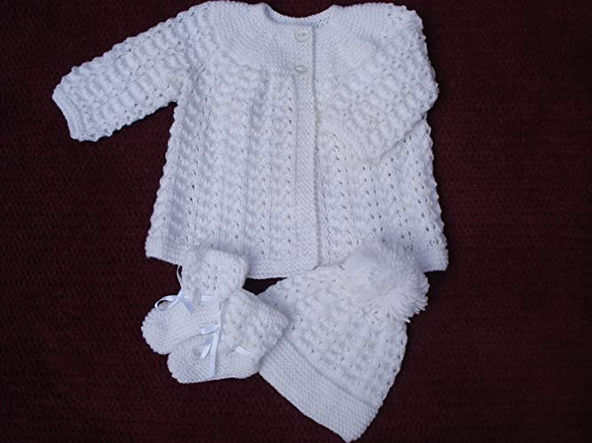 81283e049 White Hand Knitted Baby Set Cardigan