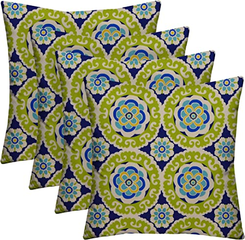 RSH D cor Indoor Outdoor Multicolor Set of 4-17 x 17 Square Pillow Weather Resistant – Choose Color 4-Hilina Wasabi Blue Green Yellow White Bohemian Floral Sundial Pillows