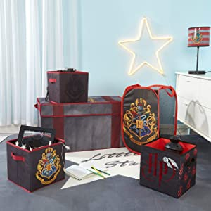 Harry Potter 5 Piece Solution Set, Come with Collapsible Trunk, Pop Up Hamper, 2, 1 Sequin Storage Cube, Black/Red