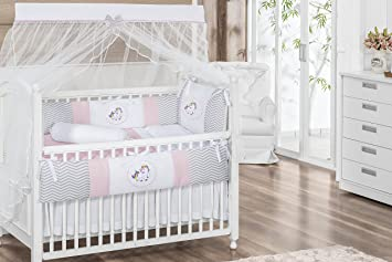 Amazon Com Unicorn Theme Pink Baby Girl 7 Pcs Embroidered Nursery