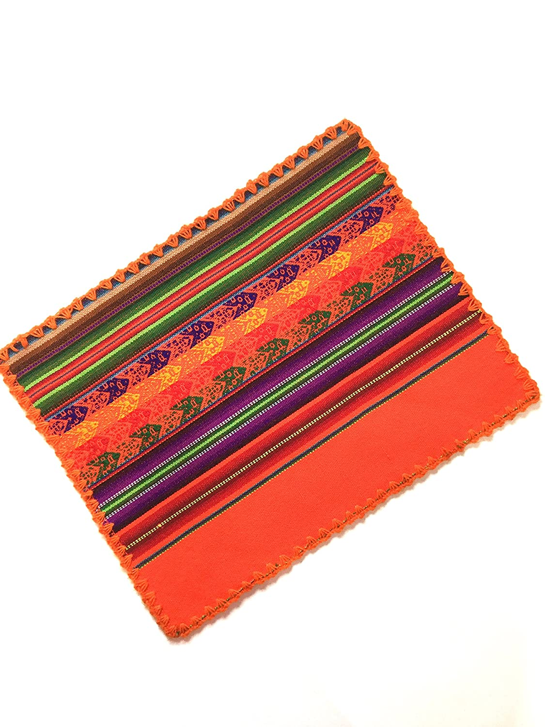 Amazon.com: ArtCus Orange Multicolor Dining Decor Place Mat Peruvian Textile Manta, Tapestry 16