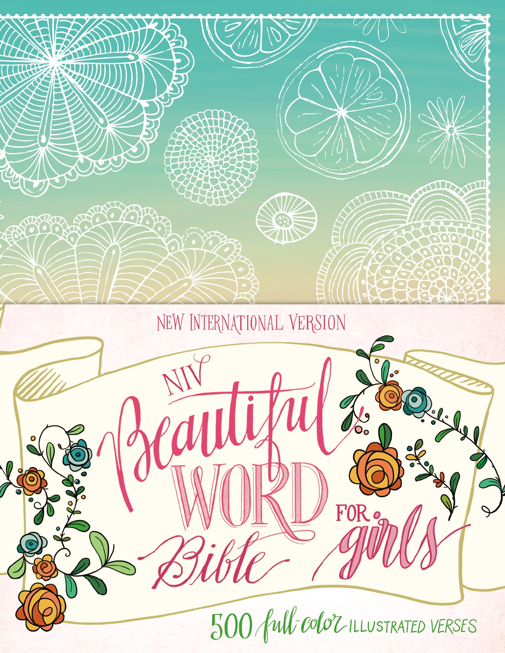 NIV Beautiful Word Bible for Girls, Hardcover, Floral: 500 Full-Color Illustrated Verses by HarperCollins (Image #3)