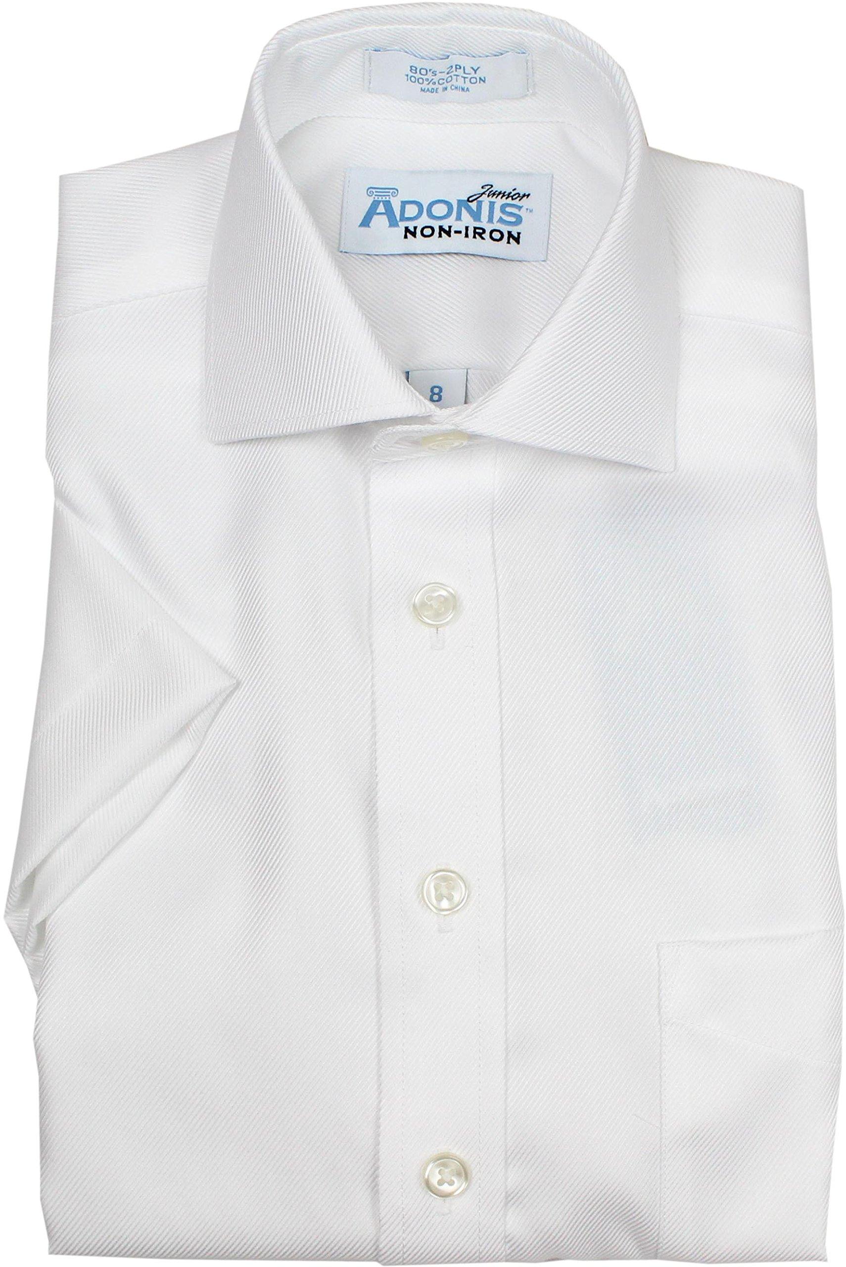 Adonis Boys 100% Cotton White Short Sleeve Textured Dress Shirt - BCSST-59 - White, 18