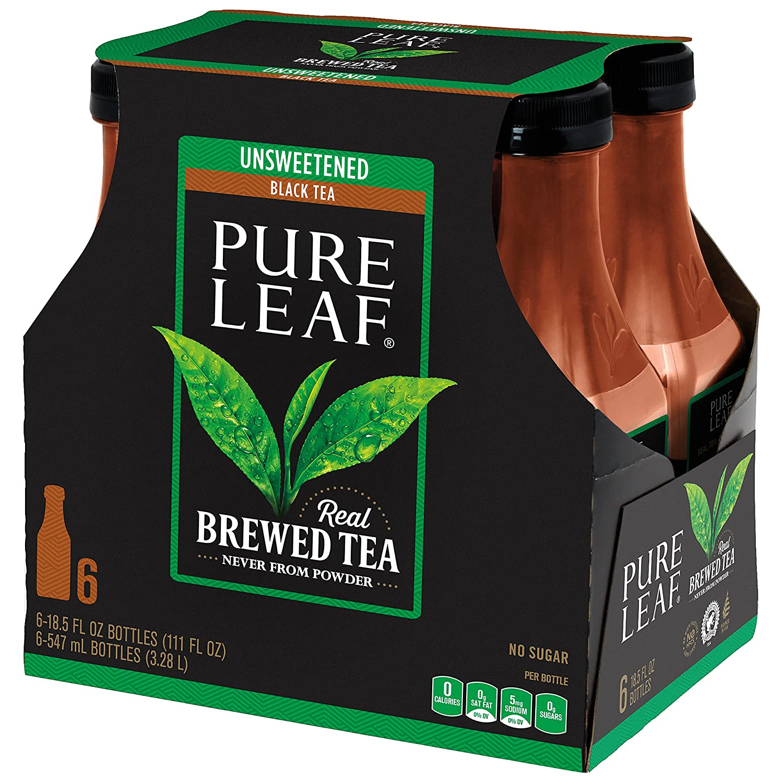 Pure Leaf Unsweetened Tea, 18.5 fl oz, 6 pk