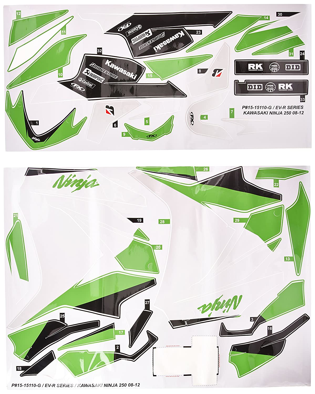 Factory Effex 15-15110-BW EV-R Series Black/White Complete Street Bike Graphic Kit for Kawasaki Ninja 250R