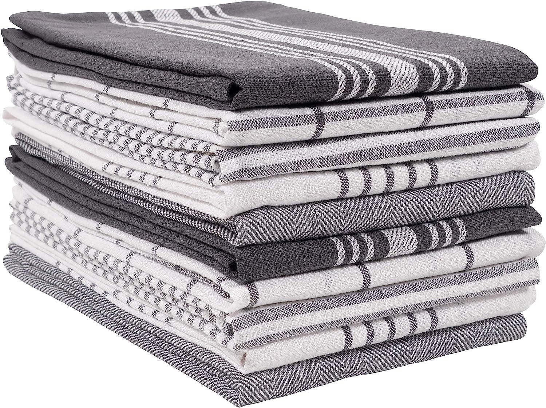 KAF Home Soho Kitchen Dish Towel Set of 10 | 18 x 28 Inch Tea Towels | Soft and Absorbent Mixed Set of Flat Towels (Charcoal)
