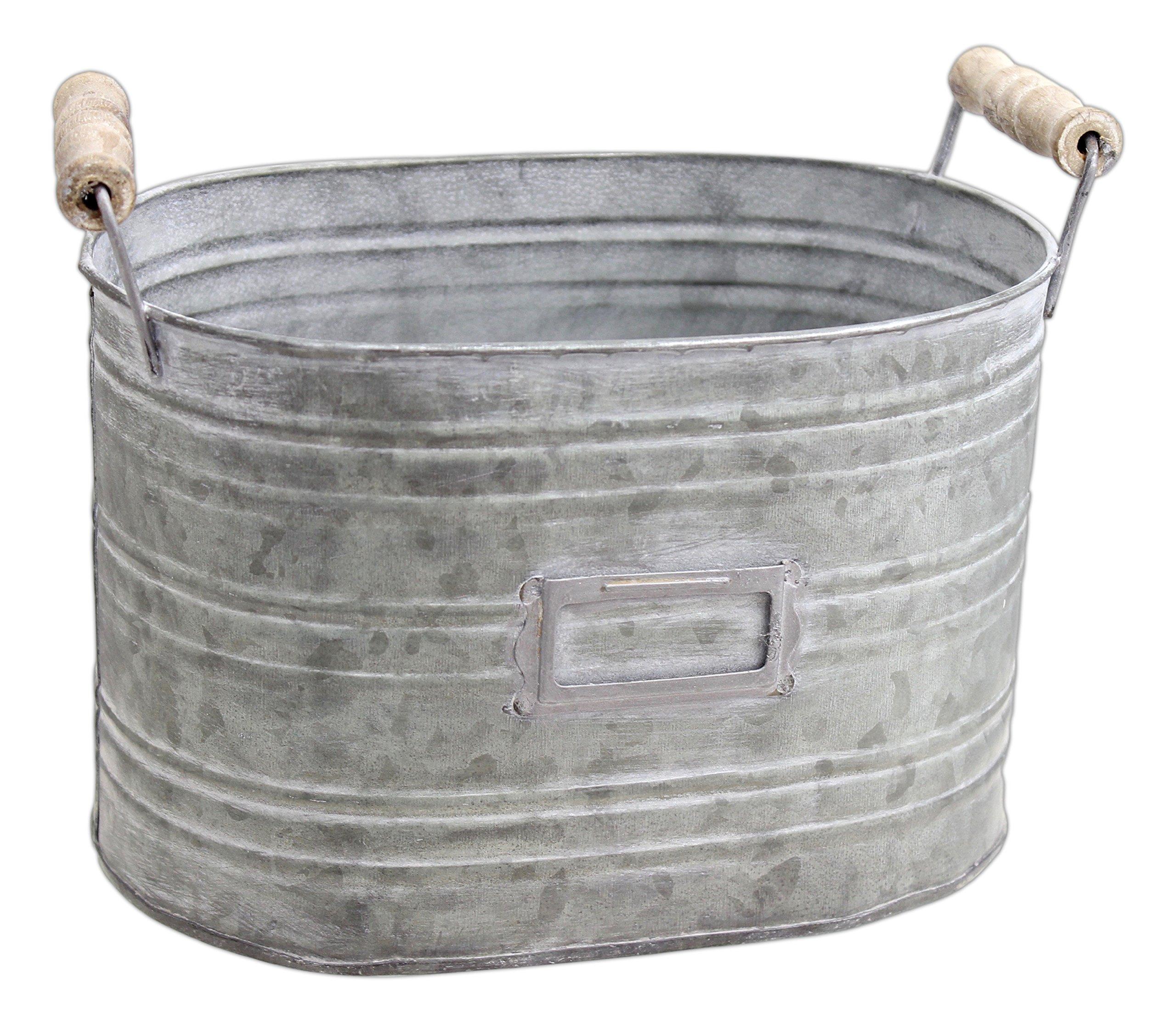 Park Hill 5.5'' x 8.5'' Rustic Oblong Metal Bucket Planter