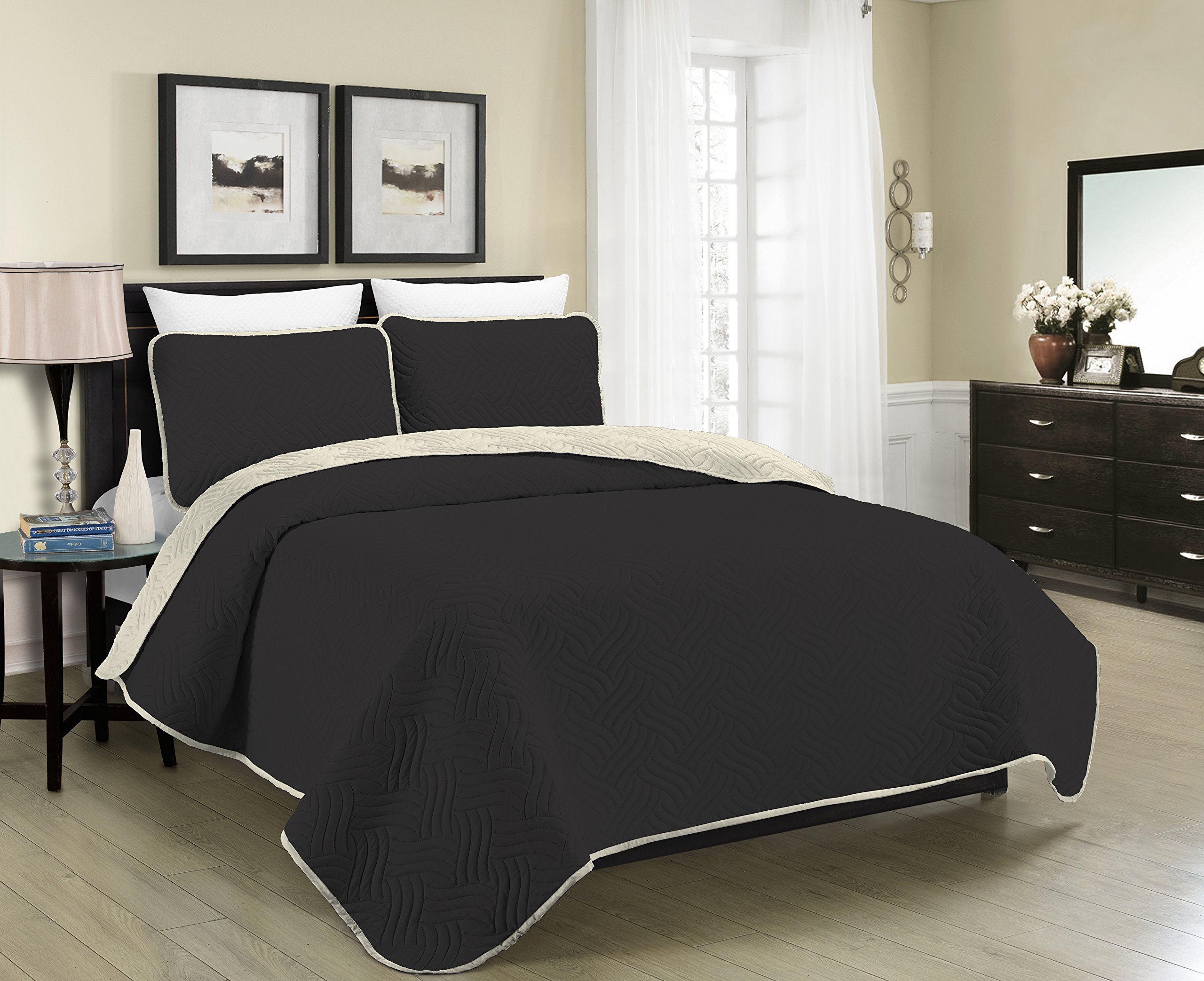 Blissful Living Reversible Luxury Pinsonic Solid Quilt Set Including Shams – Lightweight and Soft for All Year Round Comfort, Available in Twin, Full/Queen and King Size (Black/Cream, Twin)