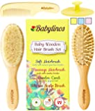 4 Piece Baby Hair Brush Set with Natural Hair Products: Baby Brush, Cradle Cap and Baby Comb   Baby Essentials Or Baby Registry for Baby Shower   Baby Gift Set for Newborn, Toddler Or New Mom