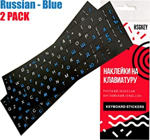 2PCS Pack Universal Russian Keyboard Stickers Replacement White/Blue Lettering Black Background for Notebook Computer Laptop Desktop PC English Ukrainian Ergonomic Cyrillic Unit Size:0.47x0.47(Matte)