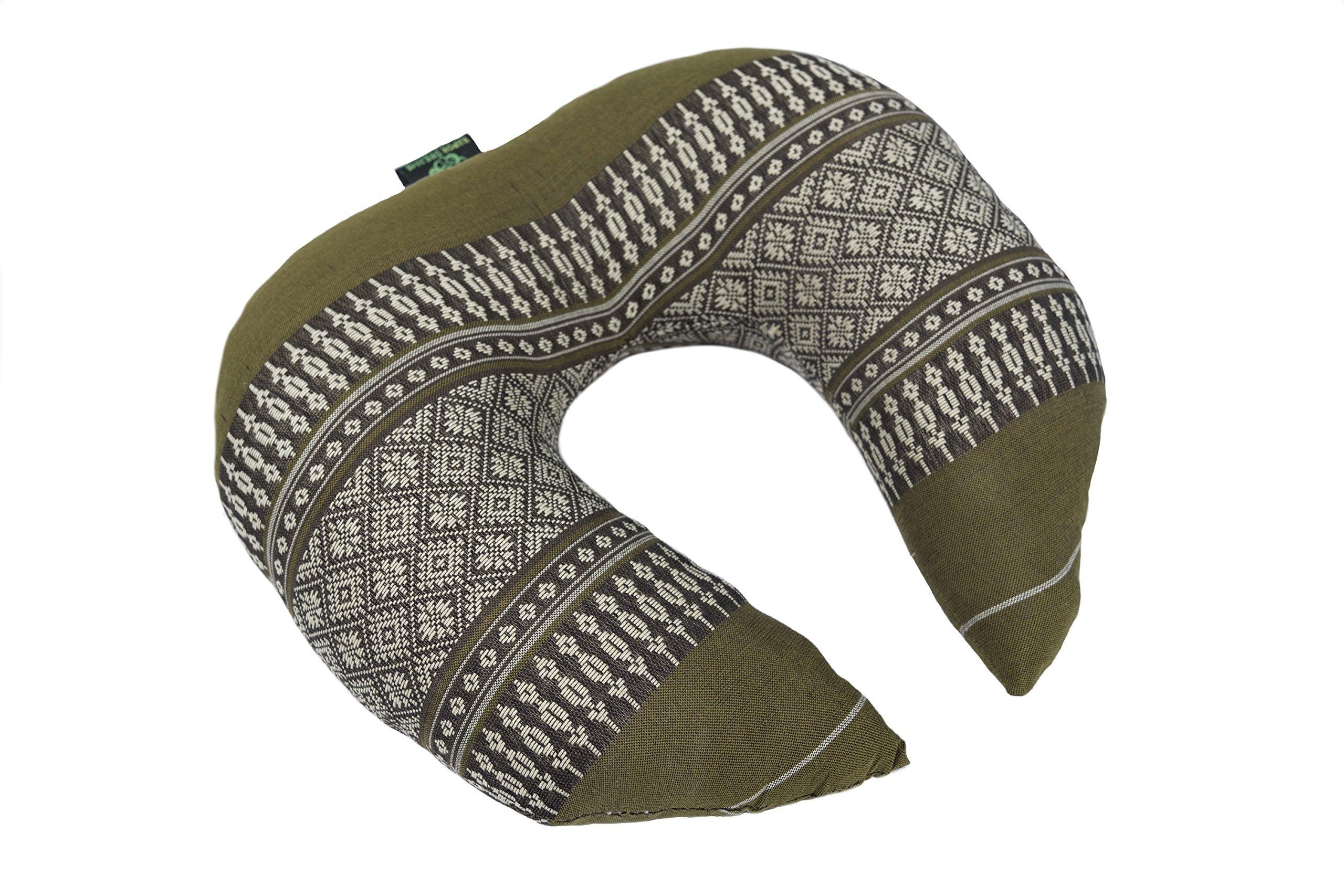 Kapok Dreams Face Cradle Cushion, 12''x11''x4'', 100% Natural Kapok Filling, Very Firm! Neck Cushion, Bamboo Green Design.