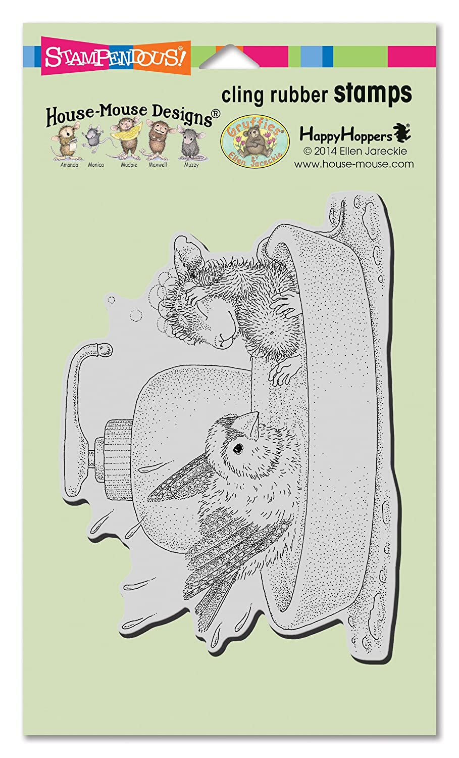 Stampendous House Mouse Cling Rubber Stamp, Bird Bath HMCR120