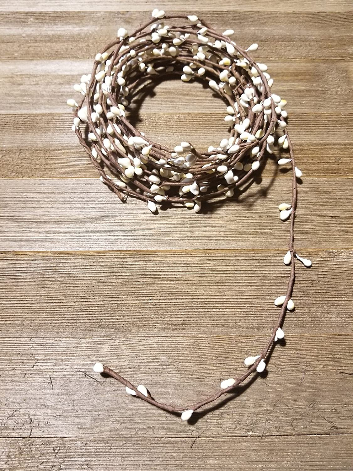 Ivory Pip Berry Single Ply Garland 18' Country Primitive Floral Craft Decor - 3 Strands 6' Garland That Can Be Utilized Separately Twisted Together to Equal 18 Feet String Garland MerdCraft