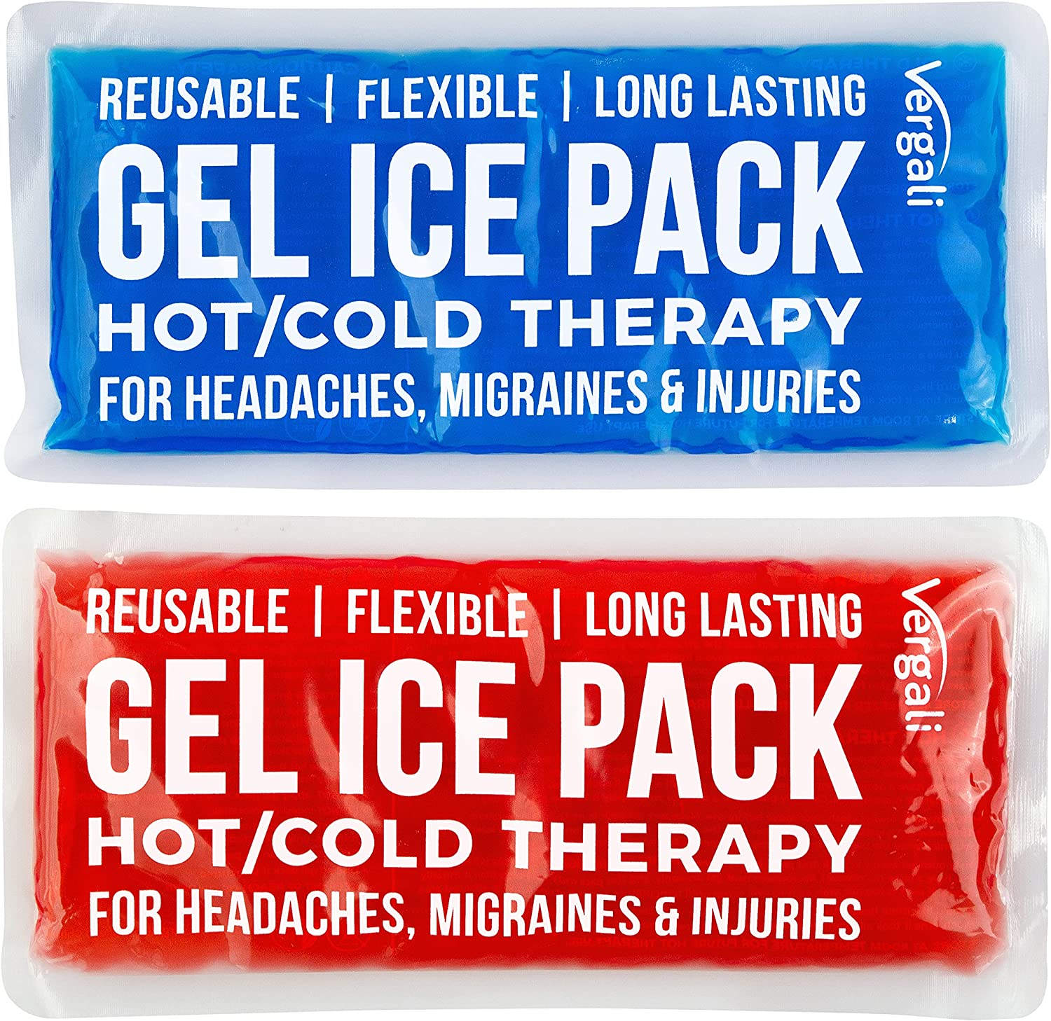 Ice Packs for Injuries Reusable Gel Cold Compress for Shoulder, Knee and Ankle. Gel Ice Pack for Back, Neck, Foot and Wrist. Flexible Cold Packs for Injuries. 2 Hot and Cold Gel Packs for Pain