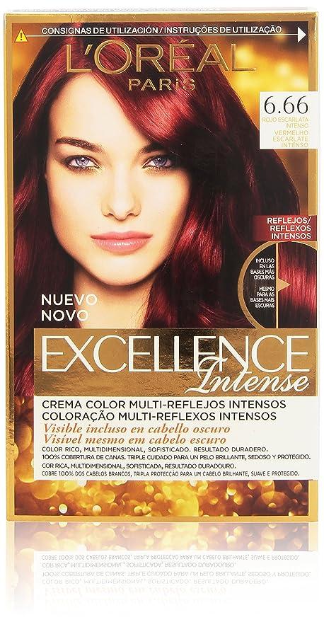 LOréal Paris Excellence Coloración Intense 6,66 Rojo Escarlata Intenso - 176 ml