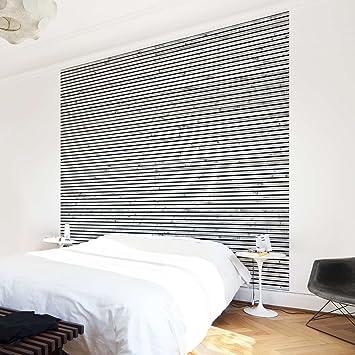 Tapete Holzoptik   Vliestapete Premium   Holzwand Mit Schmalen Leisten  Schwarz Weiß   Fototapete Quadrat Vlies