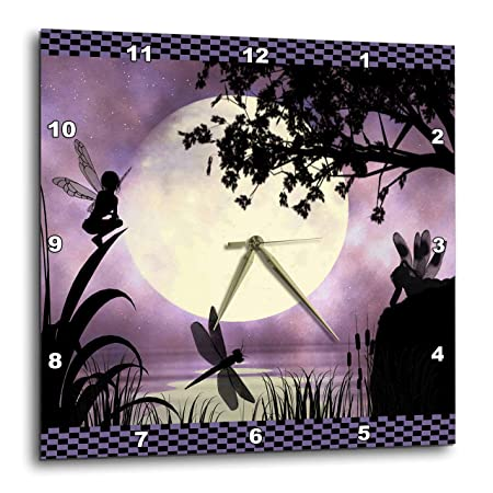 3dRose Fairies and Dragonflies with an Purple Moon Wall Clock, 10 by 10-Inch