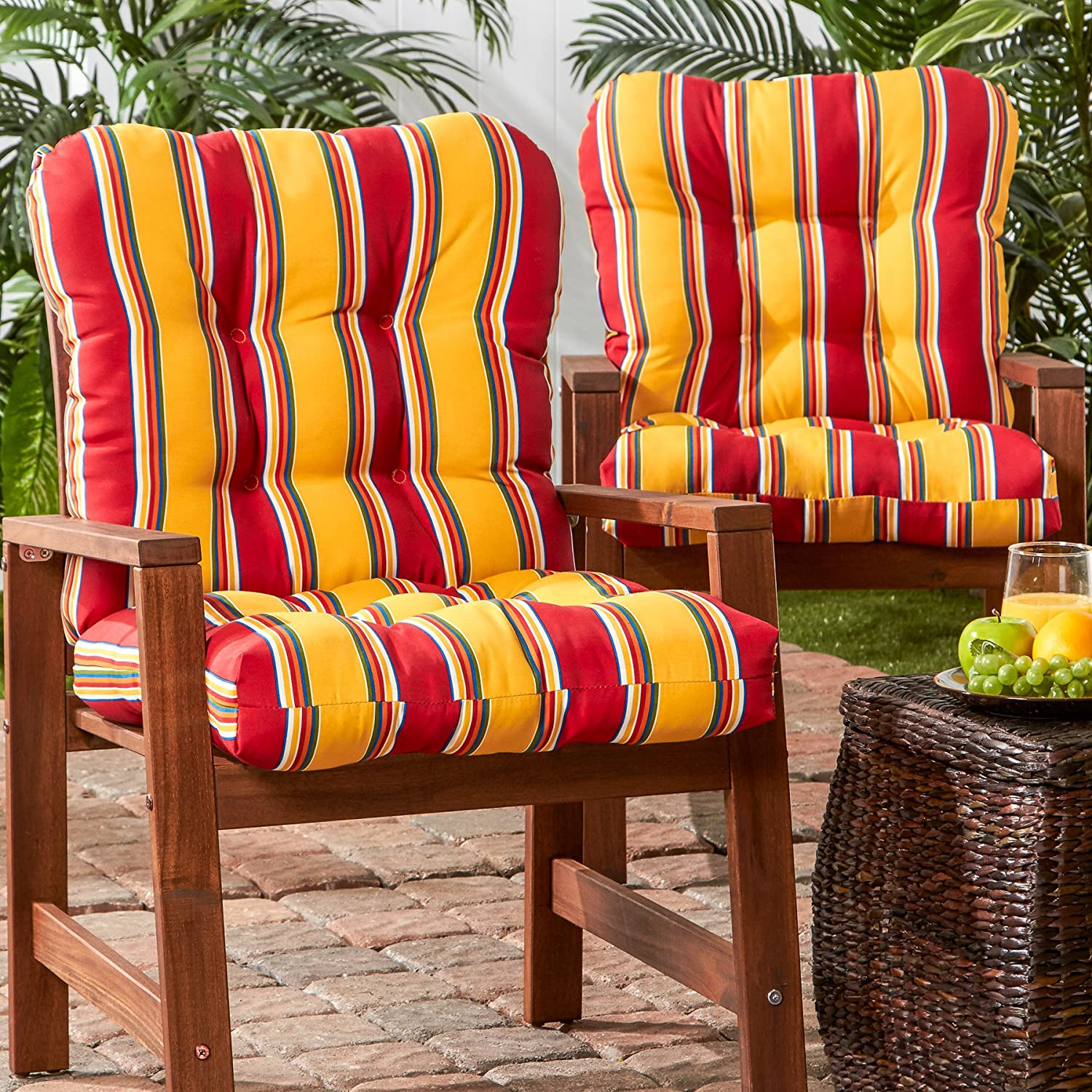 Greendale Home Fashions Outdoor Seat Back Chair Cushion set of 2 , Carnival Stripe