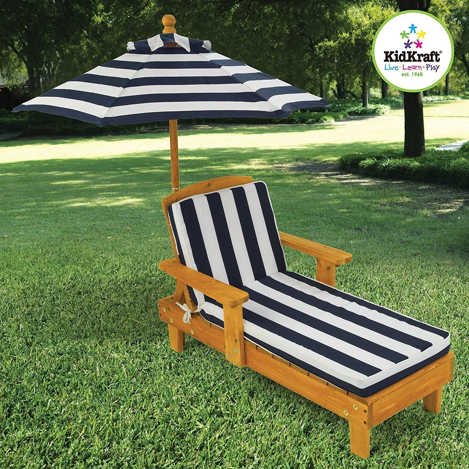 Elegant Popular Kids Toddlers Dark Blue/White Backyard Patio Deck Chaise Lounge Chair With Matching Umbrella- Beautiful Stylish Lightweight- Weatherproof Finish Portable Durable Sturdy- Summer Fun: Toys & Games