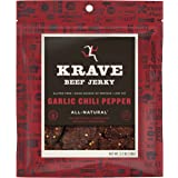 KRAVE Beef Jerky, Garlic Chili Pepper, Gluten Free, 2.7 Ounce (Pack Of 8)