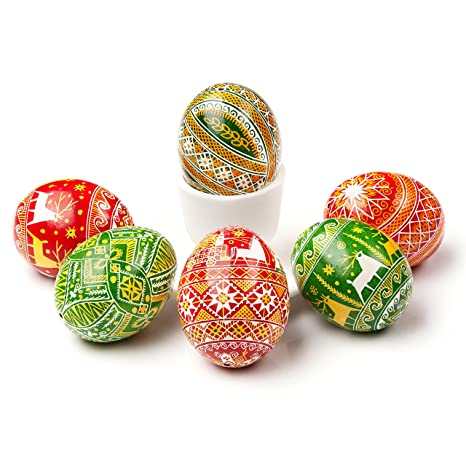 Set Of 6 Traditional Pysanka Eggs Natural Blown Eggs