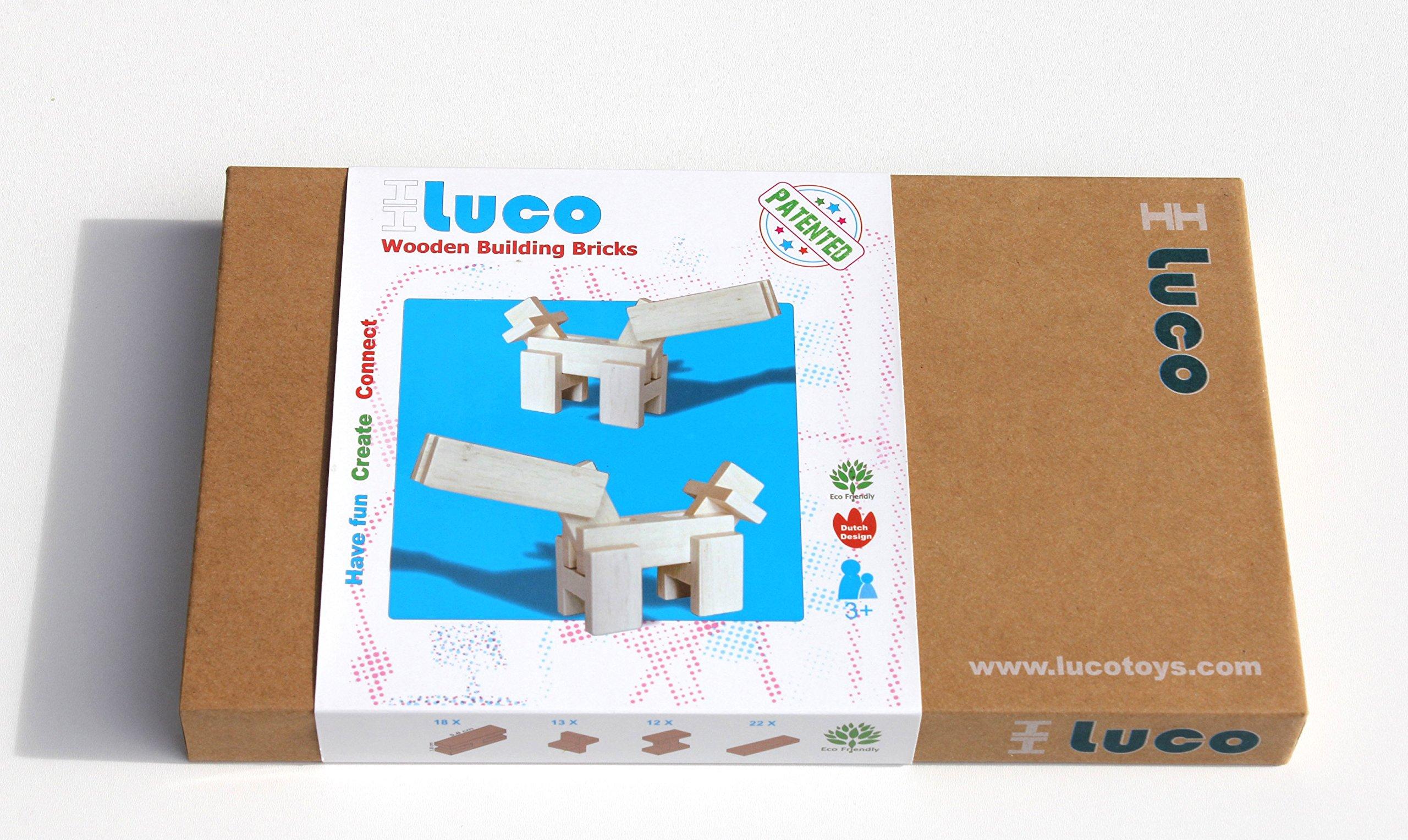 Luco Wooden Building Bricks/Blocks | Natural Wood | Eco-Friendly | Educationa.. 14
