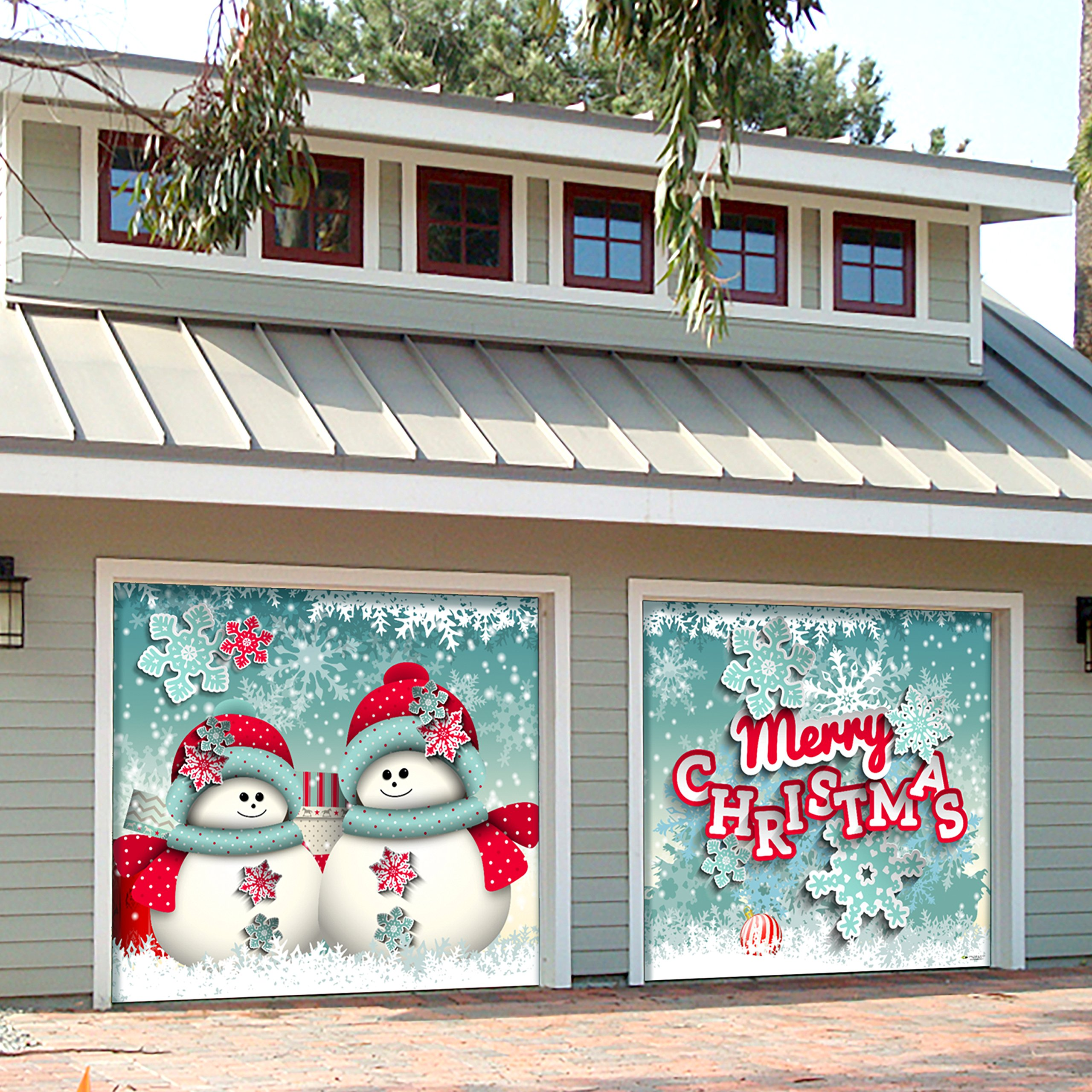 Outdoor Christmas Holiday Garage Door Banner Cover Mural Décoration - Snowman Christmas - Outdoor Holiday 2 Car Split Garage Door Banner Décor Sign , Two 7'x 8' Graphic Kits by Victory Corps