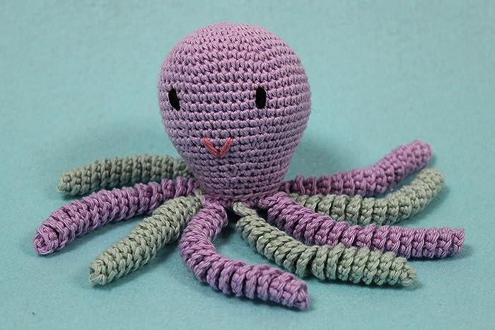 Pulpo amigurumi para recién nacido en color lila - gris azulado ...