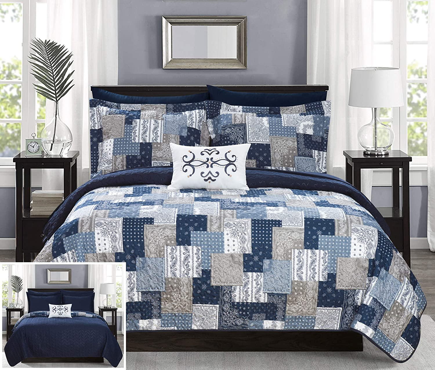 Black King Chic Home Eliana 4 Piece Reversible Coverlet Set Embossed Patchwork Bohemian Paisley Print Quilted Design Bedding-Decorative Pillow Shams Included