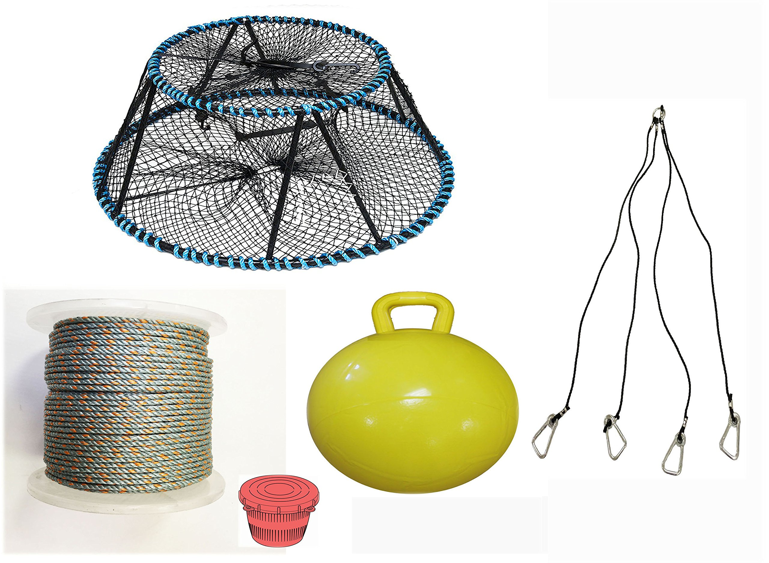 KUFA Sports Tower Style Prawn trap with 400' rope, Yellow float, Vented Bait Jar & Harness combo (CT150+PAQ5+HA5)