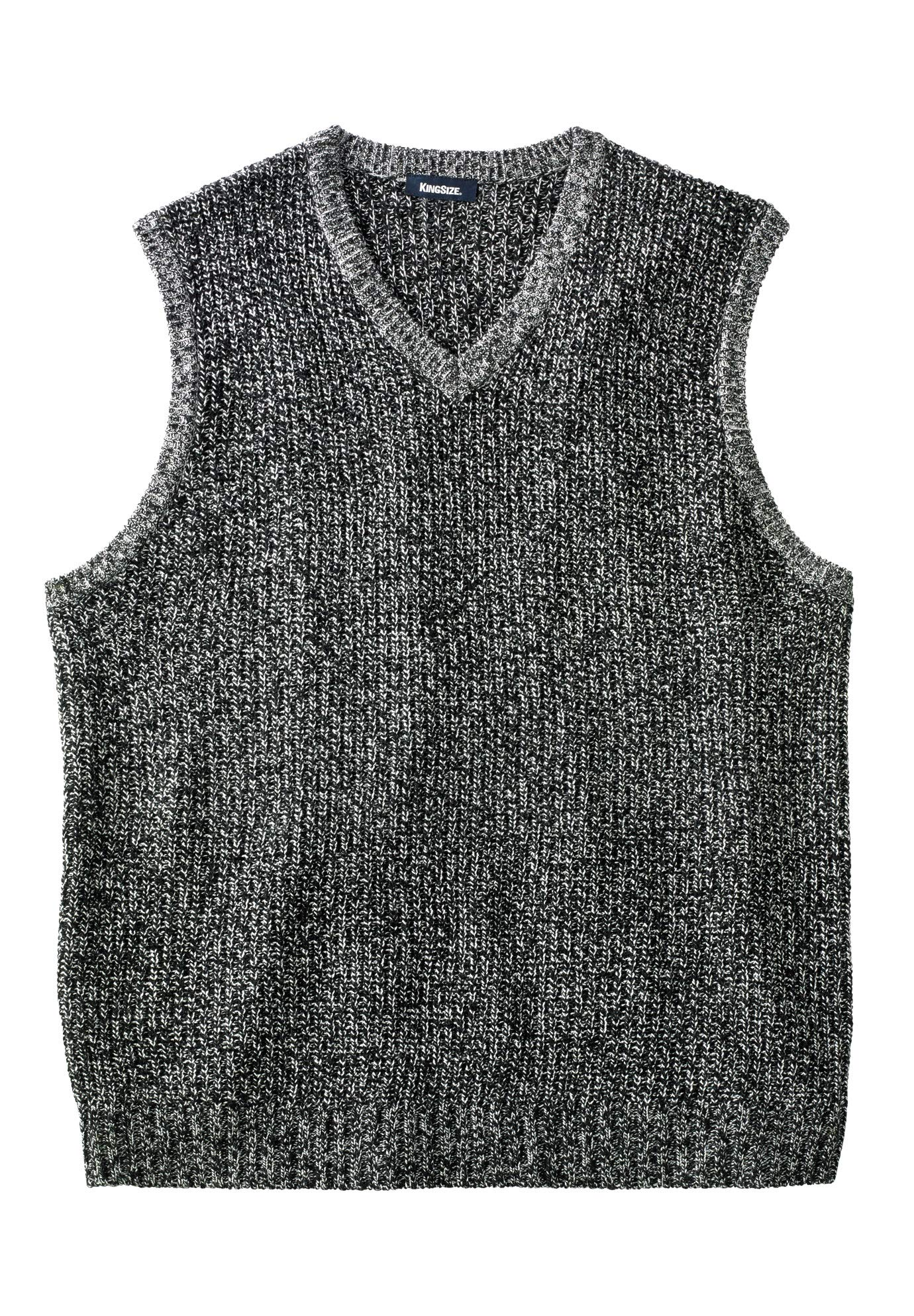KingSize Men's Big & Tall Shaker Knit V-Neck Sweater Vest, Black Marl Big-2XL by KingSize