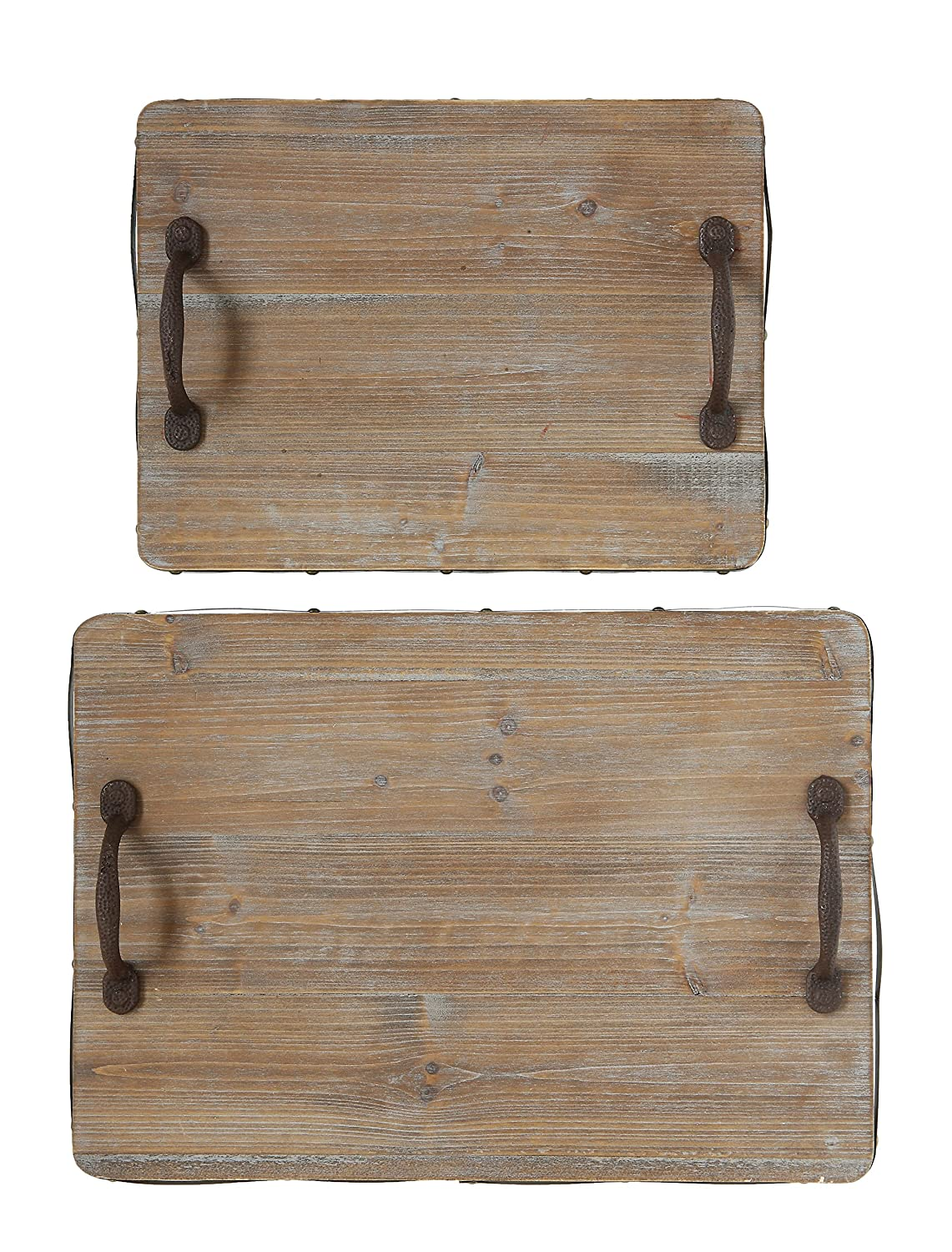 Creative Co-op Decorative Wood Trays with Iron Handles (Set of 2 Sizes) DA7749