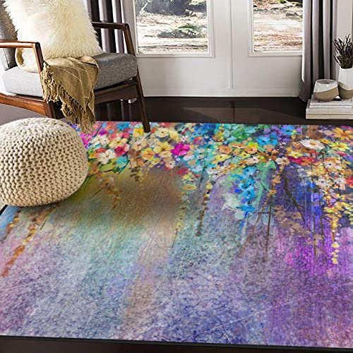 ALAZA Watercolor Painting Abstract Floral Area Rug for Living Room Bedroom 5 3 x4