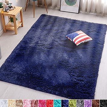 Pagisofe Super Soft Fluffy Velvet Fabric Indoor Room Area Rugs Carpets For Living Room Bedroom Kids Nursery Decor Dining Floor Non Slip Shag Rectangle Rug 4x5 3 Feet Navy Blue Furniture