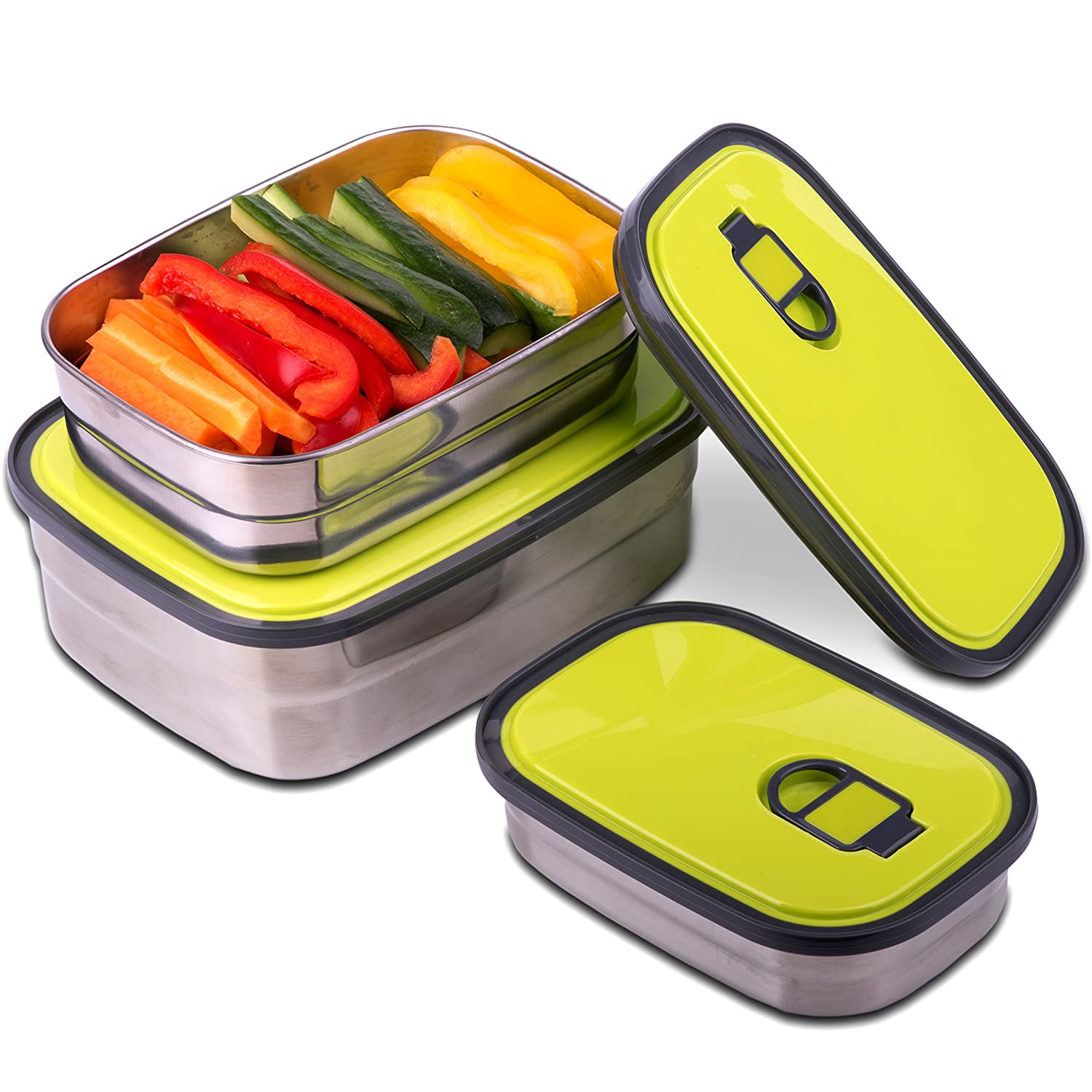 Reusable Food Containers Set of 3 - Lightweight, Durable, Multi-Use Stainless Steel Leak Proof Lunch Box with Airtight Lid - BPA-Free and Toxin-Free, Eco Friendly Storage Containers by Kitchen Star