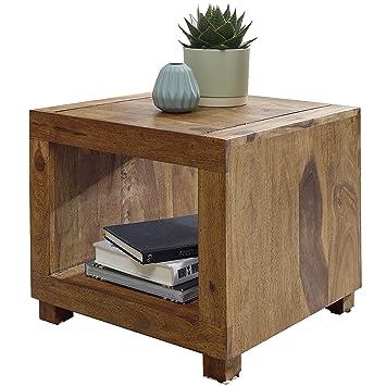 WOHNLING Sheesham Massiv-Holz Couchtisch 50 x 50 cm Wohnzimmer-Tisch ...