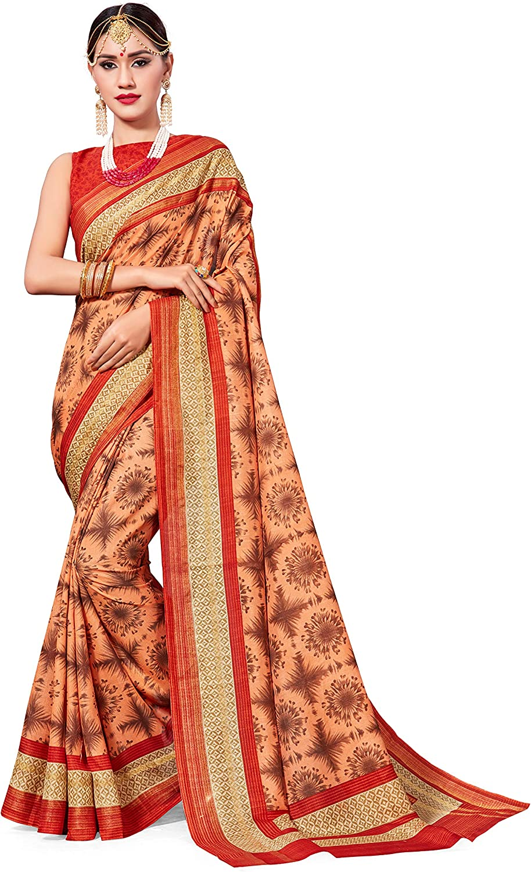 Indian White /& Red Saree Butterfly Printed Mysore Silk Fabric Women Sari Dress