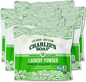 Charlie's Soap Laundry Powder (50 Loads, 6 Pack) Hypoallergenic Deep Cleaning Washing Powder Detergent – Eco-Friendly, Safe, and Effective