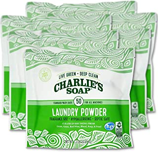 product image for Charlie's Soap Laundry Powder (50 Loads, 6 Pack) Hypoallergenic Deep Cleaning Washing Powder Detergent – Eco-Friendly, Safe, and Effective