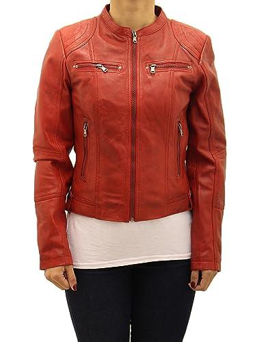 Se–oras Rojo autŽntico Cuero Cabido Elegante Corto Zipped Rojo sin collar'n motociclista Chaqueta
