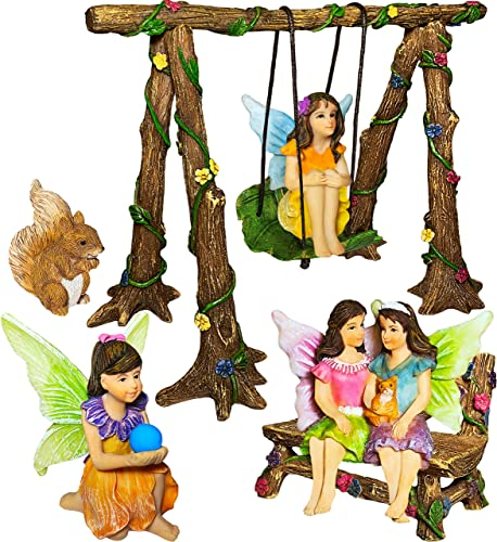 Mood Lab Fairy Garden – Accessories Kit with Miniature Figurines – Hand Painted Swing Set of 6 pcs – for Outdoor or House Decor