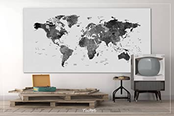 Amazoncom World Map Watercolor World Map Black White Push - Map of the world poster black and white