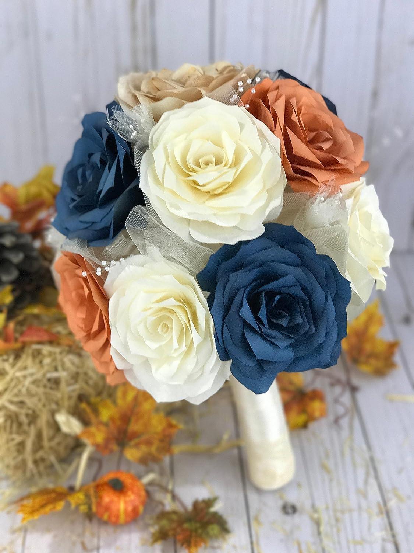 Amazon Navy Blue And Burnt Orange Paper Rose Bouquet Handmade