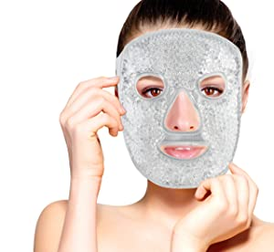 Hot and Cold Therapy Gel Bead Full Facial Mask by FOMI Care | Ice Face Mask for Migraine Headache, Stress Relief | Reduces Eye Puffiness, Dark Circles | Fabric Back | Freezable, Microwaveable