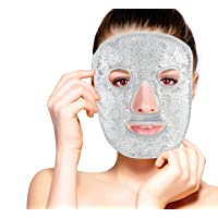 Hot and Cold Therapy Gel Bead Full Facial Mask by FOMI Care   Ice Face Mask for...
