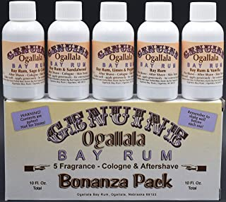 product image for YOUR CHANCE TO TRY ALL FIVE OF OUR BAY RUMS! You will get 1 two-ounce bottle each of: Genuine Ogallala Bay Rum Bonanza! 1 two-ounce bottle each of: Bay Rum Aftershave - Limes and Peppercorns, Sage & C