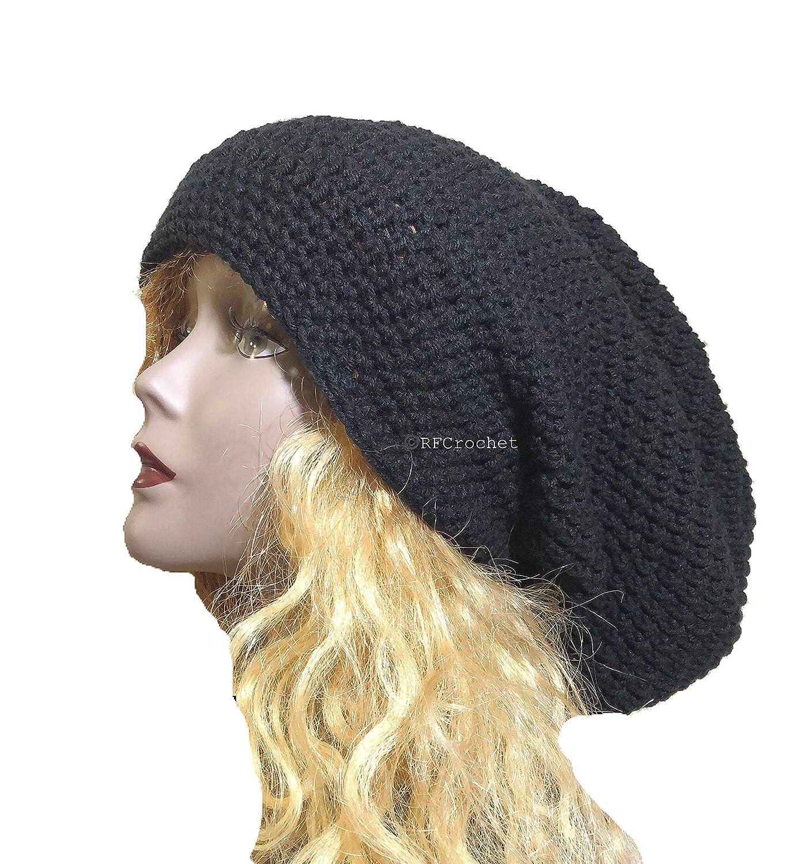 913495af3 Amazon.com: Oversized Black Slouchy Beanie for Extra Large Hat Size ...
